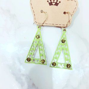 Neon Green Metal Filigree Earrings